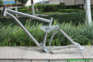 Custom titanium suspension bike frame with tapered head tube